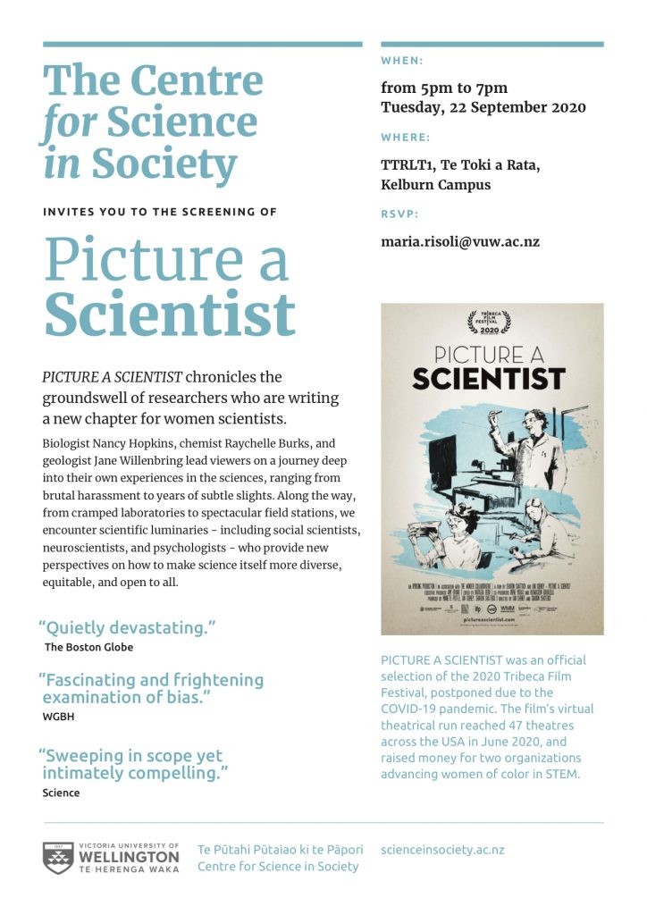"Image of invitation to screening of ""Picture a Scientist"". Description of film, the when, the where, and rsvp are in text on the webpage. Other text: ""Quietly devastating"", The Boston Globe; ""Fascinating and frightening examination of bias"", WGBH; ""Sweeping in scope yet intimately compelling"", Science. ""PICTURE A SCIENTIST was an official selection of the 2020 Tribeca Film Festival, postponed due to the COVID-19 pandemic. The film's virtual theatrical run reached 47 theatres across the USA in June 2020, and raised money for two organizations advancing women of color in STEM."""